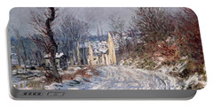 The Road To Giverny In Winter Portable Battery Charger