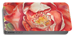 Portable Battery Charger featuring the painting The Rose by Mary Haley-Rocks