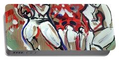 Portable Battery Charger featuring the painting The Run by John Jr Gholson