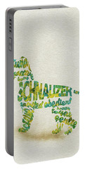 Portable Battery Charger featuring the painting The Schnauzer Dog Watercolor Painting / Typographic Art by Inspirowl Design