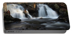 The Secret Waterfall In Golden Light Portable Battery Charger