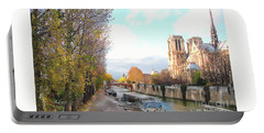 The Seine And Quay Beside Notre Dame, Autumn Portable Battery Charger by Felipe Adan Lerma