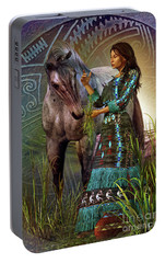 Portable Battery Charger featuring the digital art The Horse Whisperer by Shadowlea Is