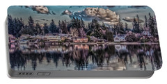 Portable Battery Charger featuring the digital art The Shore by Timothy Latta