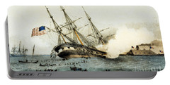 The Sinking Of The Cumberland By The Iron Clad Merrimac Portable Battery Charger