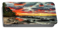 The Sky On Fire At Sunset On Lake Erie Portable Battery Charger