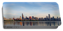 The Skyline Of Chicago At Sunrise Portable Battery Charger