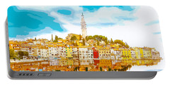 The Skyline Of The Picturesque Fishing Port Of Rovinj/rovigno In Portable Battery Charger