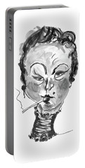 Portable Battery Charger featuring the mixed media The Smoker - Black And White by Marian Voicu