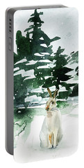 Portable Battery Charger featuring the painting The Snow Bunny by Colleen Taylor