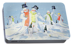 The Snowmen's Party Portable Battery Charger by David Cooke