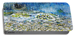 Portable Battery Charger featuring the painting The Sound Of The Rain by Evelina Popilian
