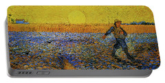 Portable Battery Charger featuring the painting The Sower by Van Gogh