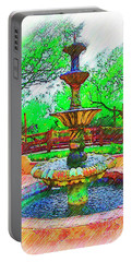 The Spanish Courtyard Fountain Portable Battery Charger by Kirt Tisdale
