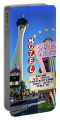 The Stratosphere Casino In Front Of The Holiday Motel Sign Portable Battery Charger