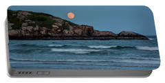 The Strawberry Moon Rising Over Good Harbor Beach Gloucester Ma Island Portable Battery Charger