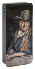 Portable Battery Charger featuring the painting The Stuff Men Are Made Of by Kim Lockman