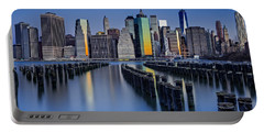 The Sun Rises At The New York City Skyline Portable Battery Charger