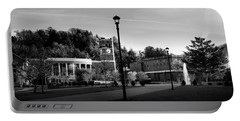 The Sun Rises On Western Carolina University In Black And White Portable Battery Charger