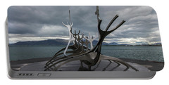 The Sun Voyager, Reykjavik, Iceland Portable Battery Charger by Venetia Featherstone-Witty