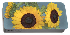 Portable Battery Charger featuring the digital art The Sunflowers by I'ina Van Lawick