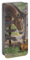Portable Battery Charger featuring the painting The Tall And Short Of It by Kim Lockman