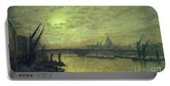 The Thames By Moonlight With Southwark Bridge Portable Battery Charger