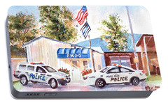 Portable Battery Charger featuring the painting The Thin Blue Line by Kip DeVore