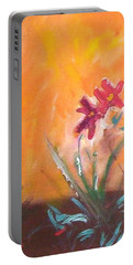 Portable Battery Charger featuring the painting The Three Daisies by Winsome Gunning