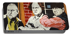 Portable Battery Charger featuring the painting The Three Stooges by Thomas Blood