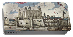 The Tower Of London Seen From The River Thames Portable Battery Charger by English School
