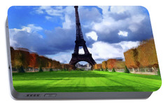 Portable Battery Charger featuring the painting The Tower Paris by David Dehner