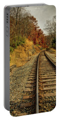 Portable Battery Charger featuring the photograph The Tracks In The Fall by Mark Dodd