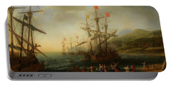 Portable Battery Charger featuring the painting The Trojan Women Setting Fire To The Fleet by Claude Lorrain