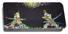 Portable Battery Charger featuring the painting The Two Samurais by Fabrizio Cassetta