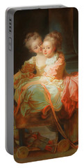 Portable Battery Charger featuring the painting The Two Sisters                                   by Jean Claude Richard