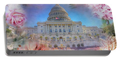 The Us Capitol Building At Spring Portable Battery Charger
