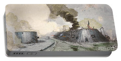 The Uss Monitor Fighting The Css Merrimack At The Battle Of Hampton Broads During The Civil War Portable Battery Charger