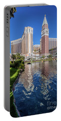 The Venetian In Front Of The Mirage Lagoon Day Portrait Portable Battery Charger