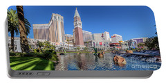 The Venetian In Front Of The Mirage Lagoon In The Afternoon Portable Battery Charger