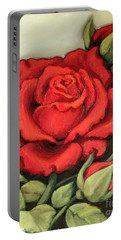 The Very Red Rose Portable Battery Charger by Inese Poga