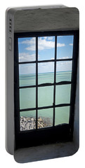 The View From The Lighthouse Window Bill Baggs Lighthouse Key Biscayne Florida Portable Battery Charger