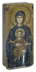 The Virgin Mary Holds The Child Christ On Her Lap Portable Battery Charger