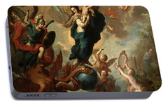 Portable Battery Charger featuring the painting The Virgin Of The Apocalypse by Miguel Cabrera