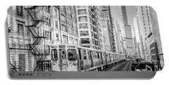 The Wabash L Train In Black And White Portable Battery Charger