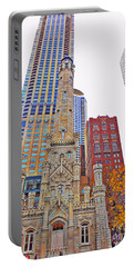 The Water Tower In Autumn Portable Battery Charger by Mary Machare