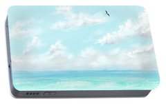 Portable Battery Charger featuring the digital art The Waves And Bird by Darren Cannell