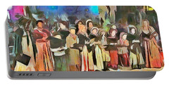 Portable Battery Charger featuring the painting The Way We Were - Christmas Caroling by Wayne Pascall