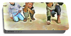 Portable Battery Charger featuring the painting The Way We Were - Pitching Marbles 2 by Wayne Pascall