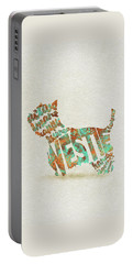 Portable Battery Charger featuring the painting The West Highland White Terrier Watercolor Painting / Typographic Art by Inspirowl Design